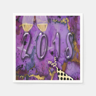 Party nakin 2018 New Years Eve Purple faux gold Paper Napkin