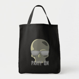 PARTY ON SKULL AND SUNGLASSES PRINT TOTE BAG
