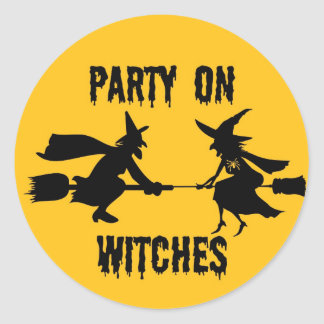 PARTY ON WITCHES...FULL MOON AND WITCHES PRINT ROUND STICKER