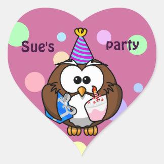 party owl heart sticker