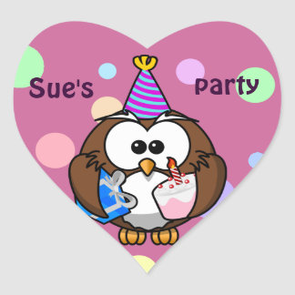party owl heart stickers