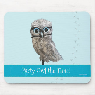 Party Owl The Time Burrowing Owl Painting Mouse Pad