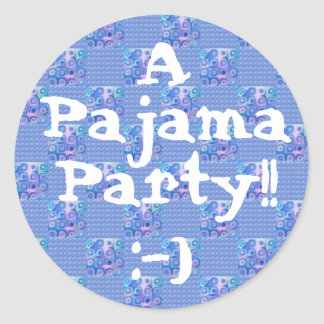 PARTY - Pajama Party with with Blue Checks Round Sticker