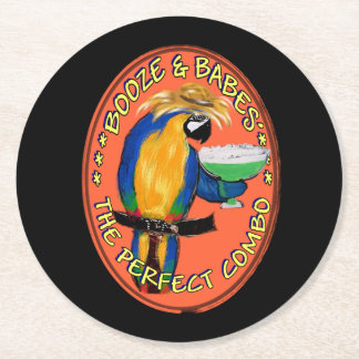 Party Parrot Round Paper Coaster
