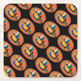 Party Parrot Square Paper Coaster