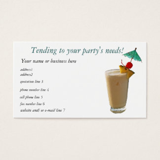 Party Planner Cocktails Business Card