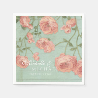 Party Pretty Blush Pink Peach Roses Wood Fence Disposable Napkin