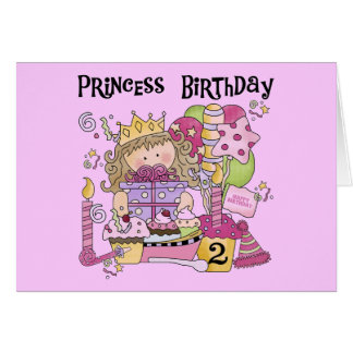 Party Princess 2nd Birthday Tshirts and Gifts Card