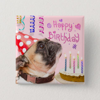 Party Pug and Birthday Cake 2 Inch Square Button