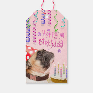 Party Pug and Birthday Cake Pack Of Gift Tags