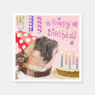 Party Pug and Birthday Cake Paper Napkins
