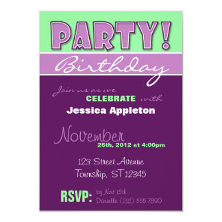PARTY! Purple & Green Birthday Invitations
