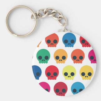 Party Skulls Basic Round Button Keychain