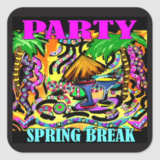 PARTY SPRING BREAK SQUARE STICKER