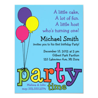 """Party Time! Balloons 4.25"""" X 5.5"""" Invitation Card"""