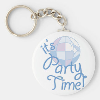 Party Time Basic Round Button Keychain