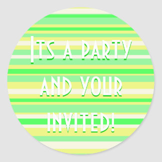 Party Time Collection Green and Yellow Stripes Classic Round Sticker