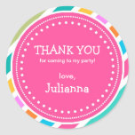 Party Time Girls Birthday Thank You Favour Sticker