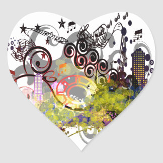 Party Time in the City Heart Sticker