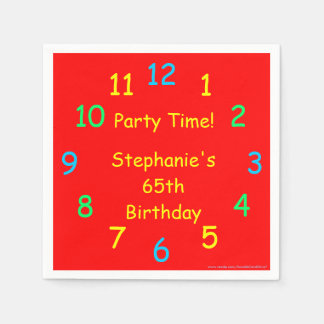 Party Time Paper Napkins, 65th Birthday, Red Paper Napkins