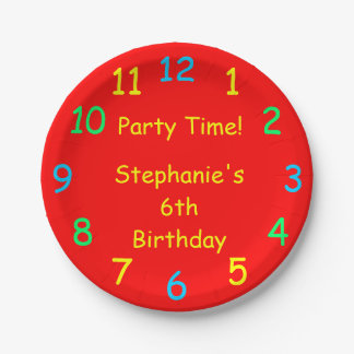 Party Time Paper Plates, 6th Birthday, Red 7 Inch Paper Plate