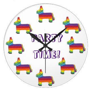 PARTY TIME! Rainbow Donkey Piñata Fiesta Birthday Wall Clock