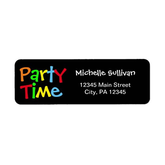 Party Time Return Address Label