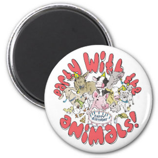 party with the farm animals magnet