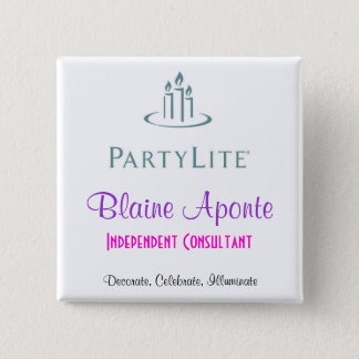 Partylite Name Badge 2 Inch Square Button