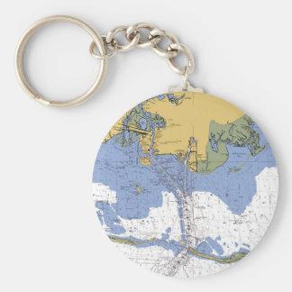 Pascagoula,Mississippi Nautical Chart Keychain