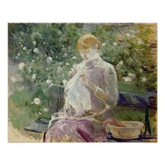 Pasie sewing in Bougival s Garden 1881 Posters
