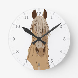 Paso Finos: Paso Horse Palomino Head Round Clock
