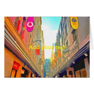Passage between colorful buildings card