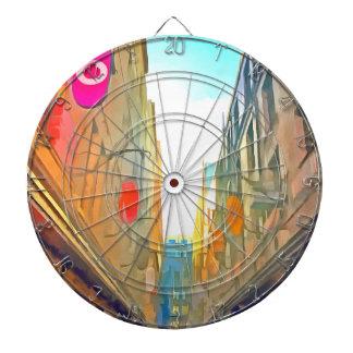 Passage between colorful buildings dartboard