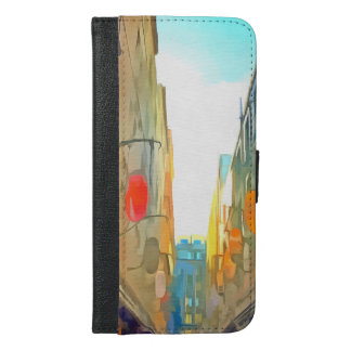 Passage between colorful buildings iPhone 6/6s plus wallet case
