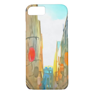 Passage between colorful buildings iPhone 7 case