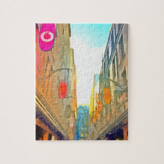 Passage between colorful buildings jigsaw puzzle