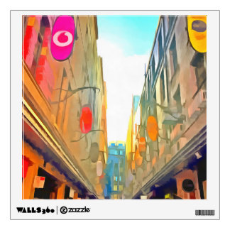 Passage between colorful buildings wall decal