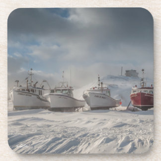 Passe-partout mounting, fishing vessels in snow coaster