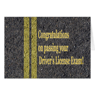 Passed Driver's License Exam Test Road Asphalt Card