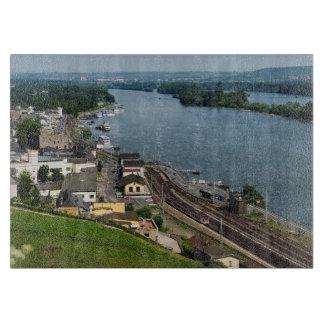 Passenger train in coarse home on the Rhine Cutting Board