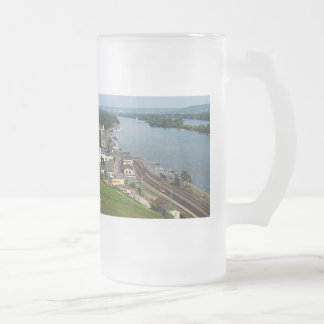 Passenger train in coarse home on the Rhine Frosted Glass Beer Mug