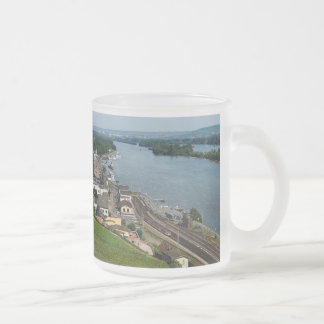Passenger train in coarse home on the Rhine Frosted Glass Coffee Mug