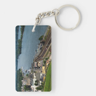 Passenger train in coarse home on the Rhine Keychain