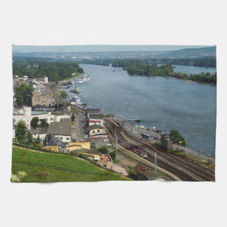 Passenger train in coarse home on the Rhine Kitchen Towel
