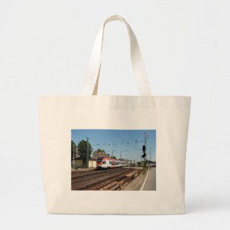 Passenger train in coarse home on the Rhine Large Tote Bag