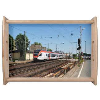 Passenger train in coarse home on the Rhine Serving Tray