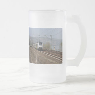 Passenger train in Niederheimbach Frosted Glass Beer Mug