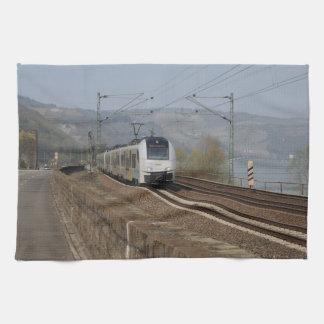 Passenger train in Niederheimbach Kitchen Towel