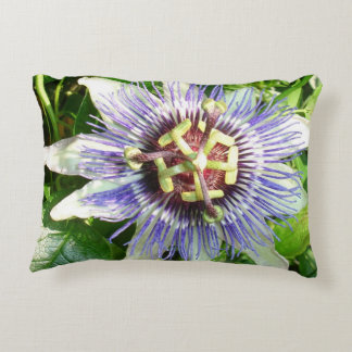 Passiflora Against Green Foliage In A Garden Decorative Pillow